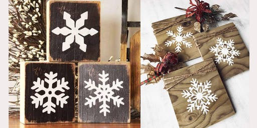 Adults Class, Painting and Decorating Snowflakes on 3 Wood Boards
