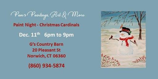 Paint Night - Christmas Cardinal
