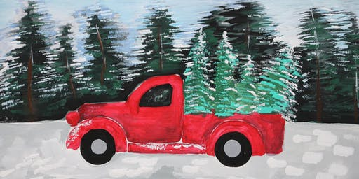 Kids Art Class, Painting Red Car in the Forrest