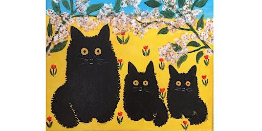 Kitties by Maud Lewis Paint & Sip Night - Art Painting, Drink & Food