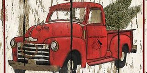 Adults Class, Painting Red Truck on Wood Board