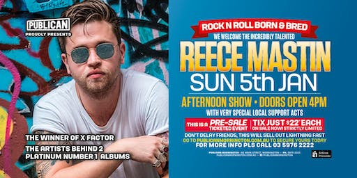 Reece Mastin LIVE January 5th at Publican, Mornington!