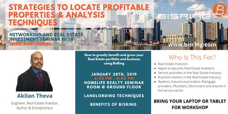 Networking Event & Seminar: Strategies to Locate Profitable Properties & Analysis Techniques tickets