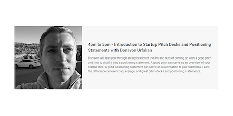 Introduction to Startup Pitch Decks and Positioning Statements tickets