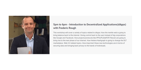 Introduction to Decentralized Applications(dApps) with Frederic Rough tickets