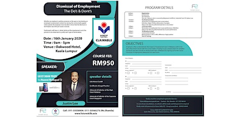 Dismissal of Employment - The Do's & Don'ts tickets