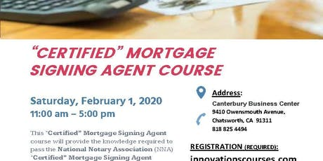 CERTIFIED MORTGAGE SIGNING AGENT COURSE tickets