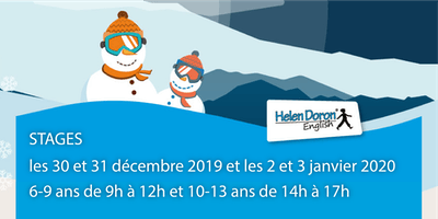 Stages anglais pour les enfants de 6 à 13 ans du 30 décembre au 3 Janvier