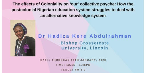 Department of Education Occasional Seminar Series: Dr Hadiza Abdulrahman