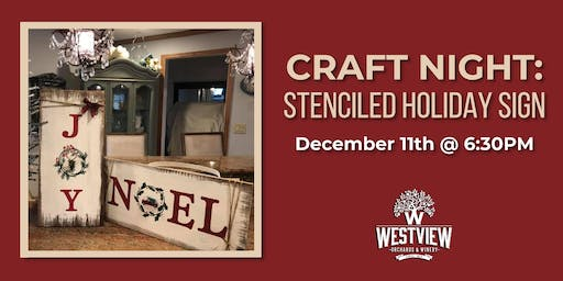 Craft Night - Stenciled Holiday Sign