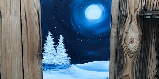 Silent Night painting at Pine Bluffs Distilling