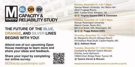 Metro Blue\Orange\Silver Lines Study Public Open House in  Arlington,  VA tickets