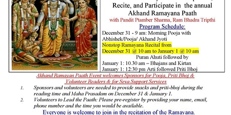 Akhand Ramayana Paath on New Year Eve & Day - Celebrate with us tickets