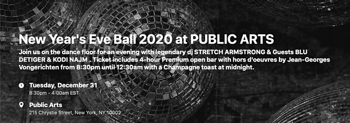 New Year's Eve Ball 2020 at PUBLIC ARTS image