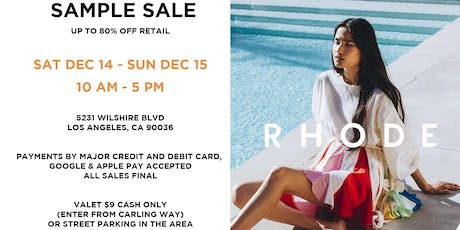 RHODE Sample Sale LA tickets