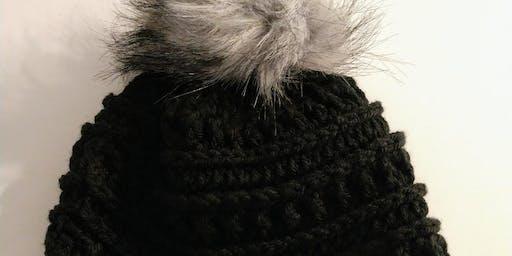 Crochet Beanie Hat w/ Pom on Top w/ Debi