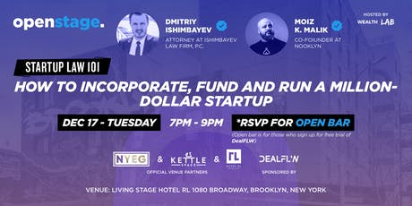 OPEN STAGE:  STARTUP LAW 101 + NETWORKING (w/ OPEN BAR!) tickets