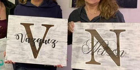 Wine & Wood - BYOB ~ Initial & Last name~Great Gift
