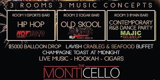 NYE AT THE MONTICELLO W/ $5K BALLOON DROP, LIVE MUSIC, DJ & PARTY FAVORS