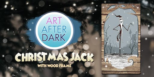 Art After Dark, Christmas Jack with Wood Frame.