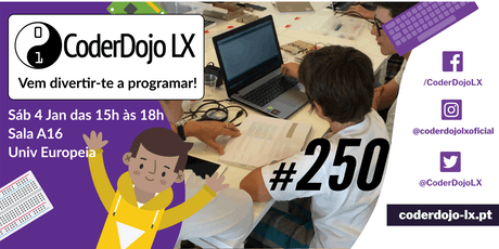 CoderDojo LX #250 - Vamos fazer um programa a festejar 2020 bilhetes