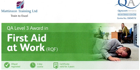 First Aid at Work course tickets