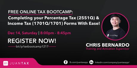FREE TAX BOOTCAMP: Completing Your Percentage Tax & Income Tax with Ease! tickets