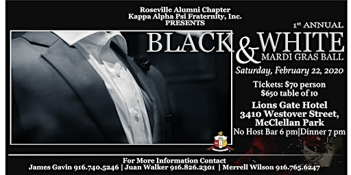 Roseville Alumni Chapter of Kappa Alpha Psi, Inc. Black & White Ball