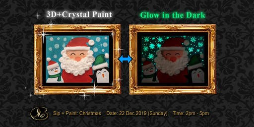 Sip and Paint (3D+Crystal Paint+Glow in the Dark):  Christmas