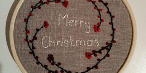 Hand Embroidered Festive / Christmas Hoop Decoration Workshop