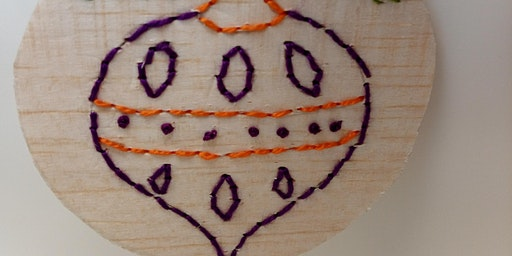 Balsa Wood Baubles Textile Workshop Hand and / or Machine Embroidery