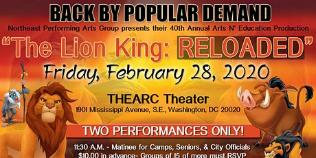 """Northeast Performing Arts Group presents """"The Lion King:RELOADED"""" tickets"""