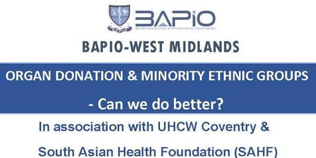 Organ Donation & Minority Ethnic Groups-Can we do better? tickets