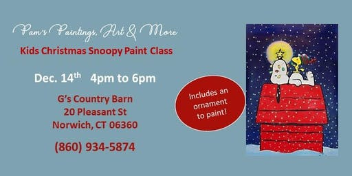 Kids Snoopy Christmas Paint Class