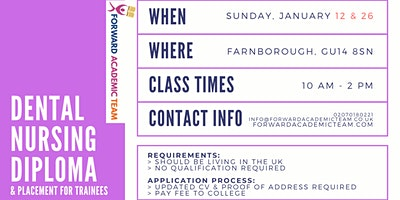 Dental Nursing Diploma/Courses in Farnborough- Jan