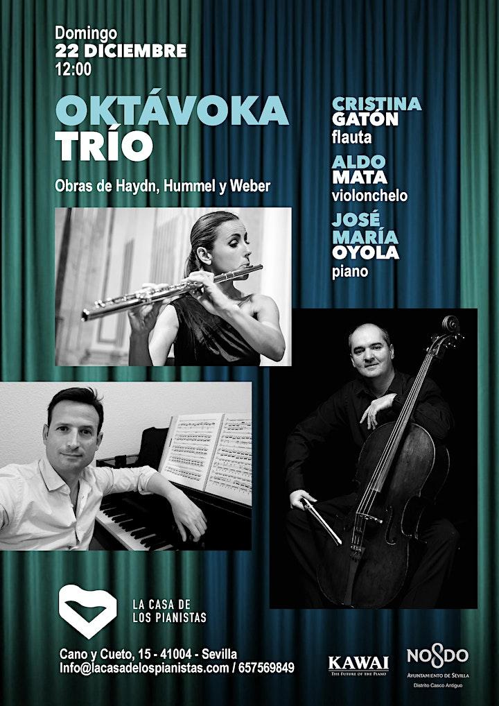 Imagen de Oktávoka Trío: Cristina Gatón, flauta, Aldo Mata , cello y JMª Oyola, piano