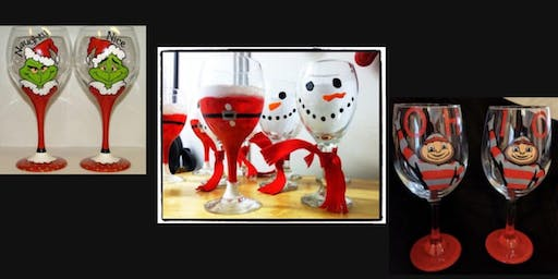 Holiday Wine Glass Paint Night Including a Martini and 2 Large Wine Glasses