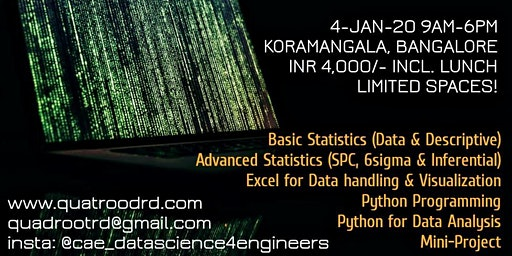 Introduction to Data Science with Statistics using Excel & Python (1 day)