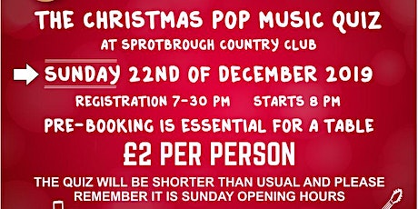 Christmas Pop Music Quiz - SOLD OUT NOW - SORRY tickets