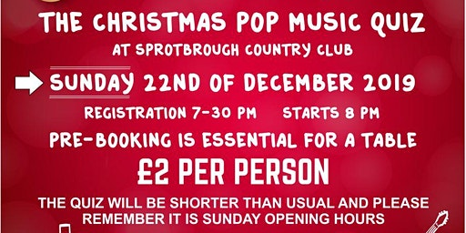 Christmas Pop Music Quiz - SOLD OUT NOW - SORRY