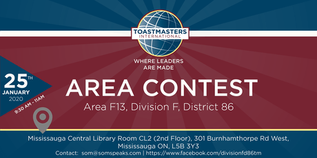AreaF13 International Speech&Evaluation Contest Toastmasters International tickets