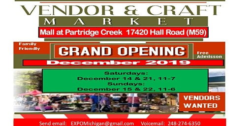 Vendors & Craft Market - Partridge Creek Mall, December 15, 2019