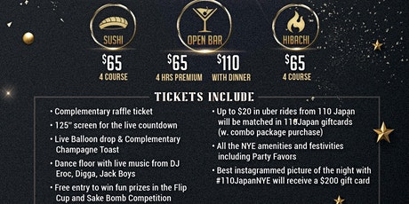 New Year's Eve 2020 Celebration at 110 Japan tickets