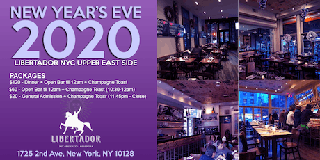 New Years's Eve NYC at Libertador UES Upper East Side - Open Bar & Dinner + tickets