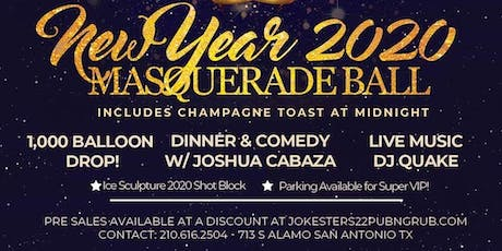 New Year 2020 Masquerade Ball and New Years Eve Party at Jokesters 22 tickets