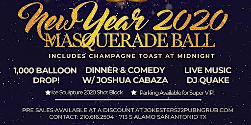 New Year 2020 Masquerade Ball and New Years Eve Party at Jokesters 22