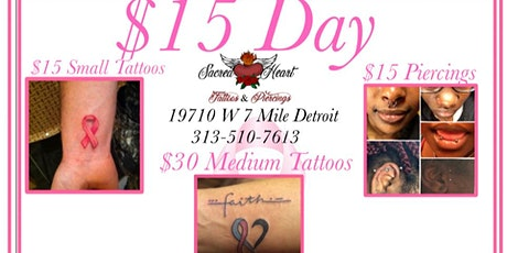 $15 Tattoos and Piercings tickets