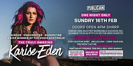 Karise Eden LIVE at Publican, Mornington! tickets