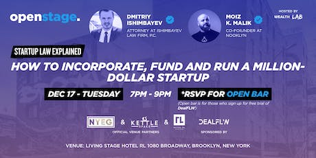 OPEN STAGE:  STARTUP LAW EXPLAINED + NETWORKING (w/ OPEN BAR!) tickets