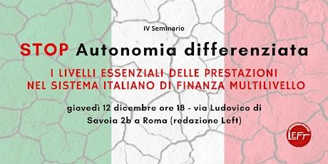 STOP Autonomia differenziata biglietti